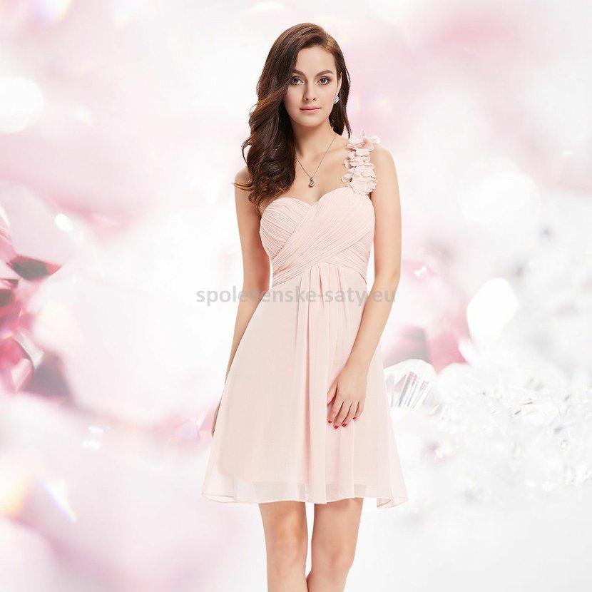 2ee8996b88c Růžové světlé krátké společenské šaty koktejlky na jedno rameno 38 M ...