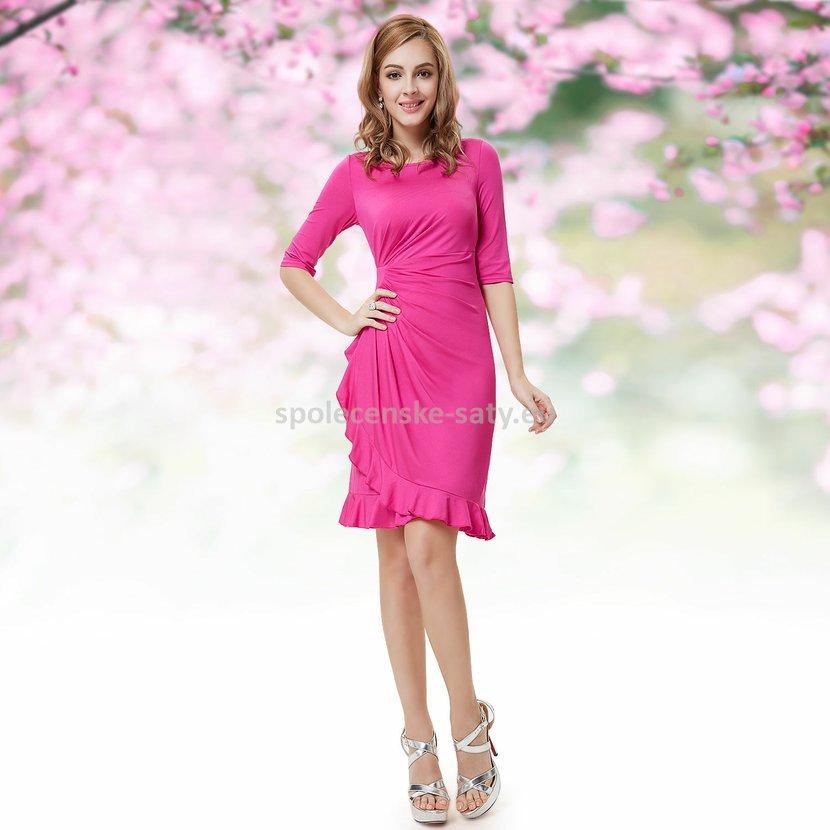 Růžové krátké šaty koktejlky s rukávem do divadla na svatbu 34 XL výprodej 01714222ea
