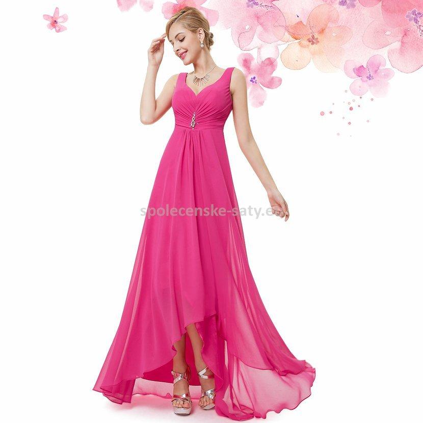Růžové pink plesové šaty vzadu delší na svatbu do tanečních 34 XS ... 138704af94