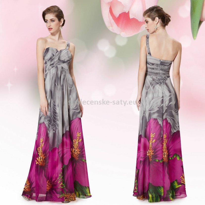Šedé dlouhé letní společenské šaty s fialovými květy 34 XS ... dcfbcb094ba