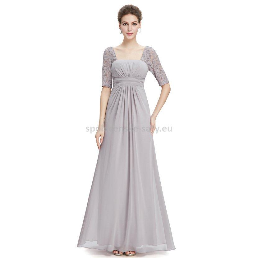 Šedé dlouhé šifonové šaty s krajkovým rukávem elegantní večerní šaty 42 XL 5ea1e4278c0