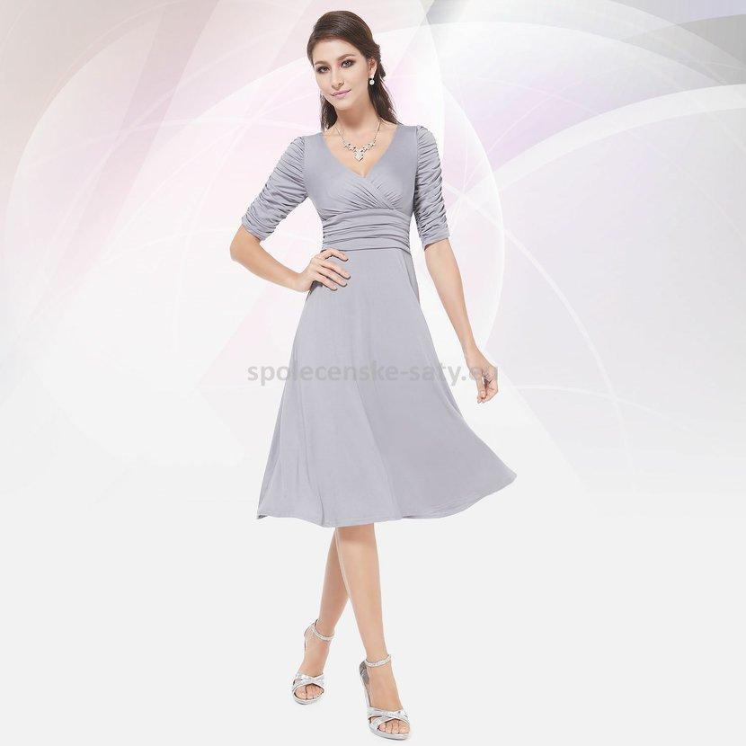 Šedé krátké společenské šaty koktejlky s rukávem na svatbu 34 XS ... de0ceb68ea
