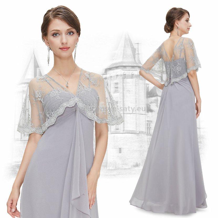 Šedé luxusní společenské šaty na ples či svatbu s krajkovým přehozem 36 S 35b59007bc