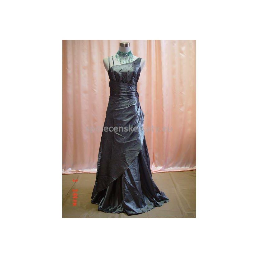 Stříbrné dlouhé společenské svatební plesové šaty pro plnoštíhlé 52 ... dbb93a0a16