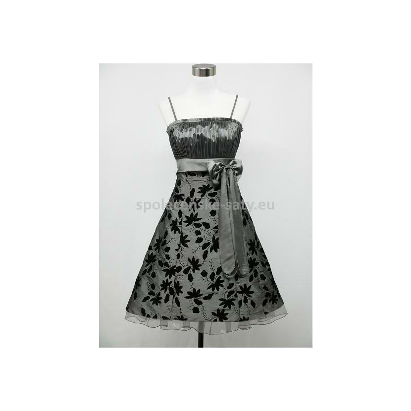 Stříbrné krátké šaty na ples pro baculky boubelky 52-54  772a160389