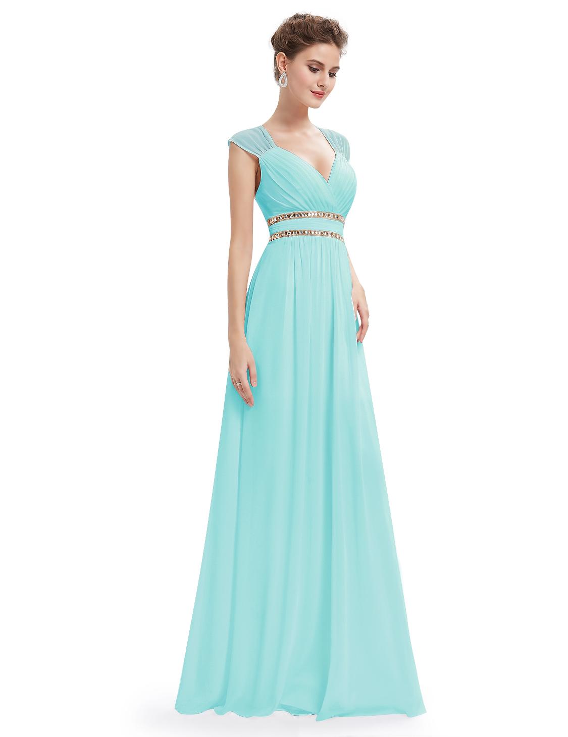 Tyrkysové dlouhé společenské šaty ve stylu řecké bohyně 44 ... fc85ff7010