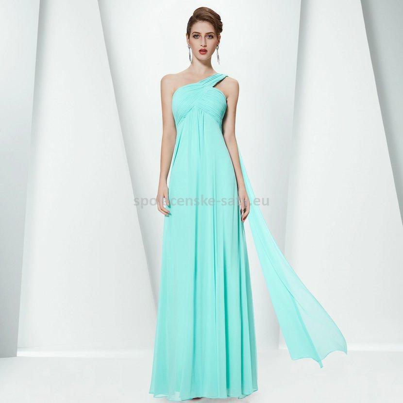 8fdd5bbbf85 Tyrkysové dlouhé společenské šaty na jedno rameno empírové i pro těhotné 40  L
