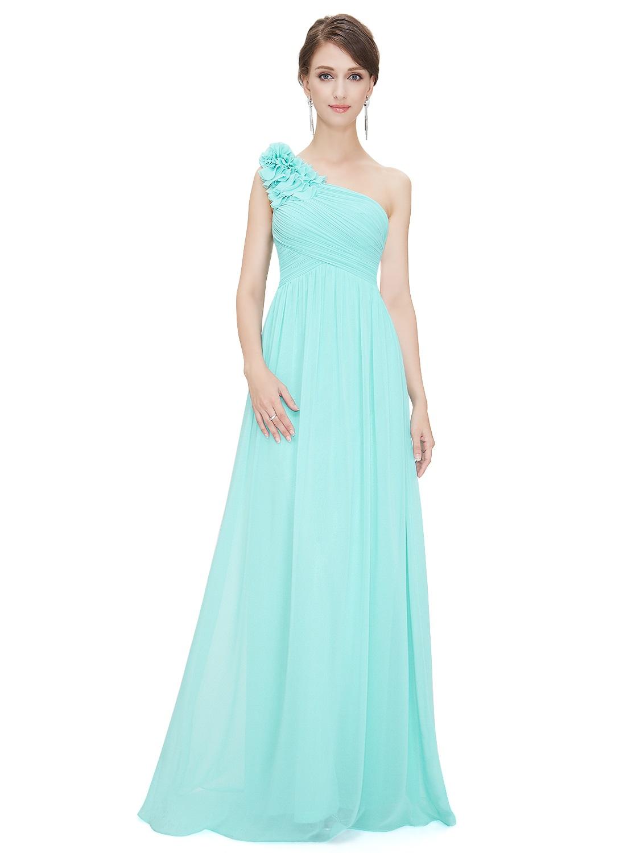 Tyrkysové dlouhé společenské šaty na rameno 3-36  b46b3b2305