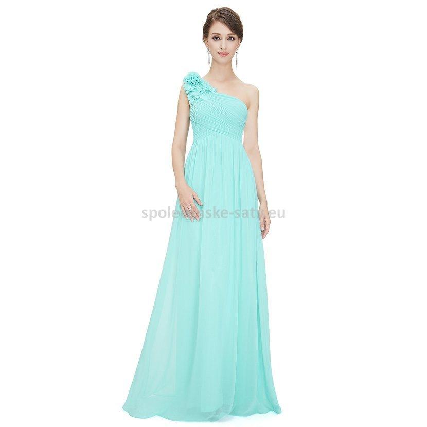 ea691297c7f0 Tyrkysové dlouhé společenské šaty na jedno rameno jednoduché 38 M