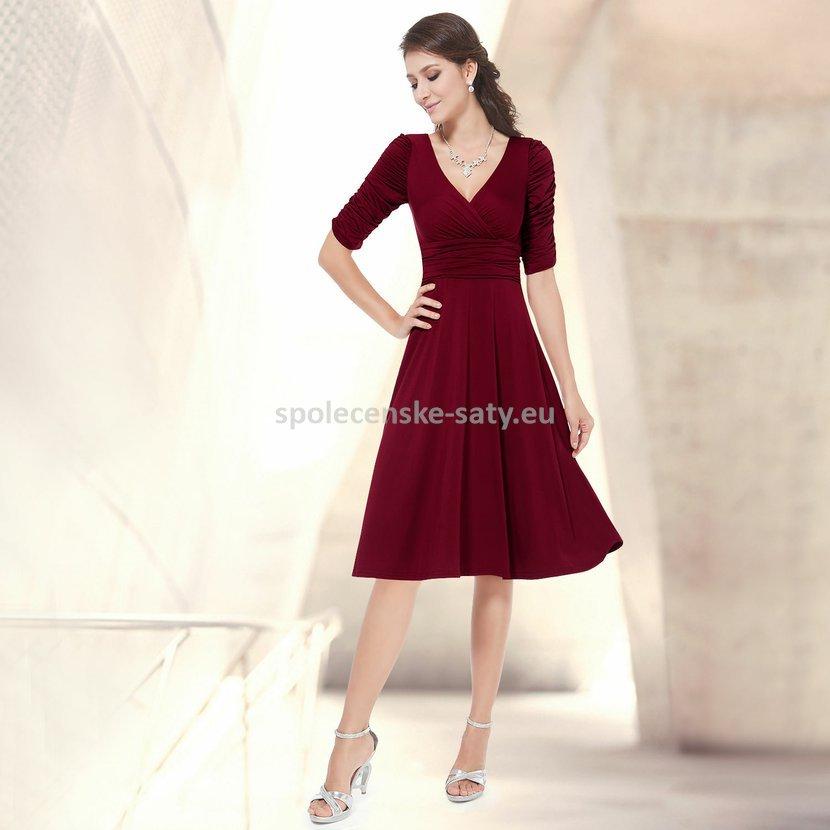 Vínové krátké společenské šaty koktejlky s rukávem na svatbu 34 XS ... 7c9ee41bf4