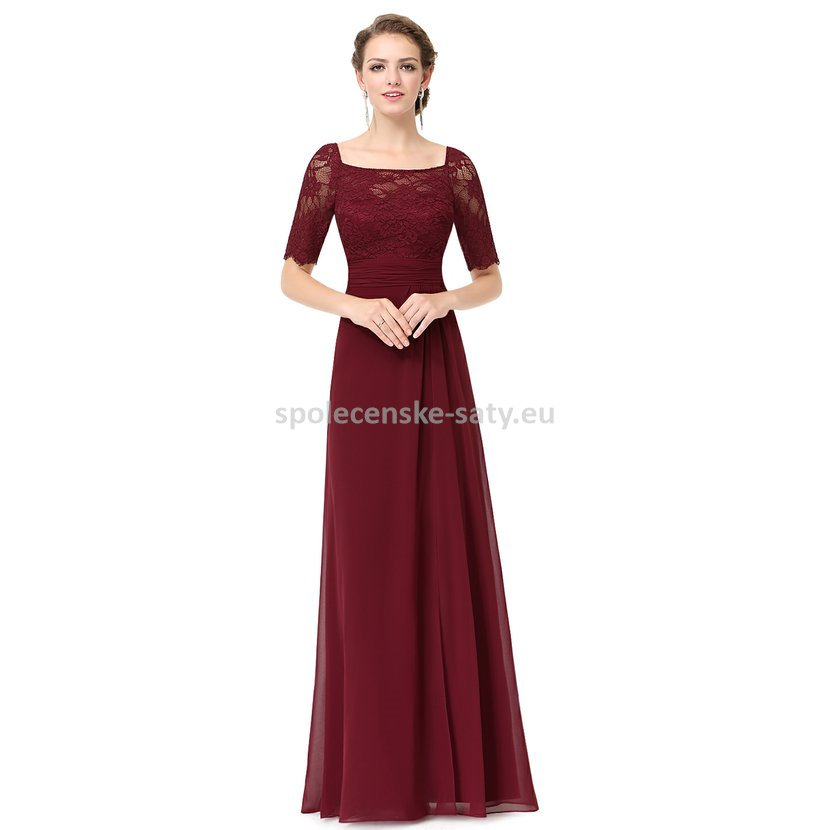 177e4931b228 Vínové dlouhé společenské šaty s rukávem pro plnoštíhlé 42 xl ...