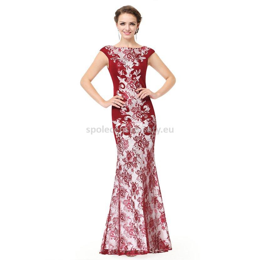 9df4dee6363 Vínové dlouhé luxusní šaty s rukávkem na svatbu ples do opery 34 XS ...