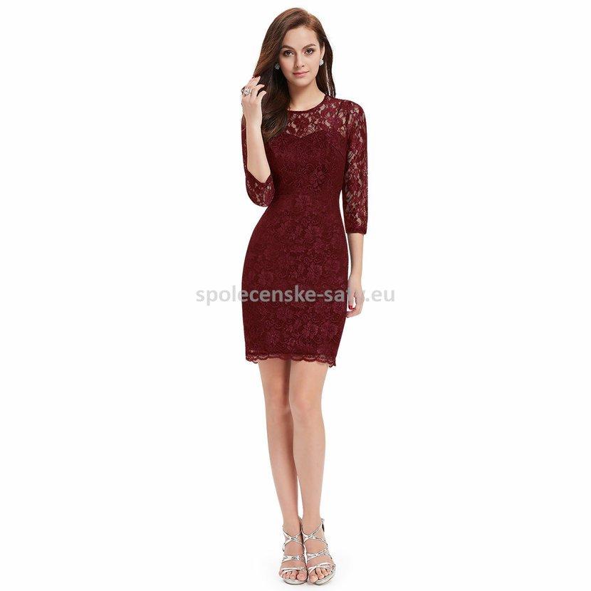 Vínové krátké krajkové šaty s rukávem pro svatební maminku 44 XXL ... a2d45f50eb