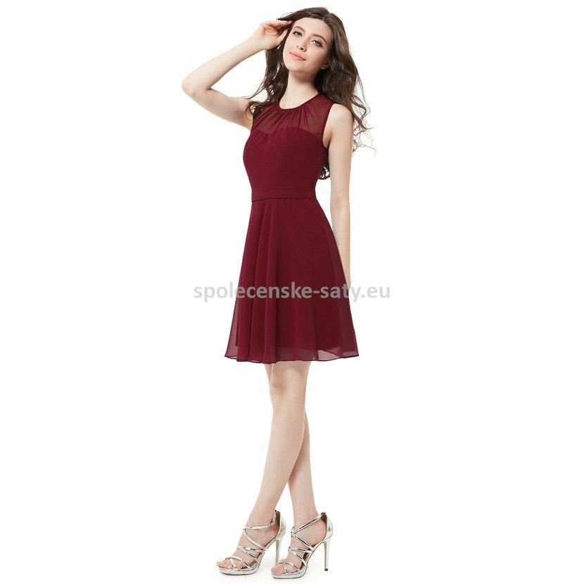 9cd33081f7d Vínové krátké společenské šaty na svatbu do divadla tanečních 46 ...