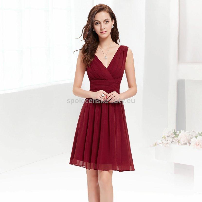 Vínové krátké společenské šaty na hrubší ramínka 44 XXL ... 2ca59839ecd