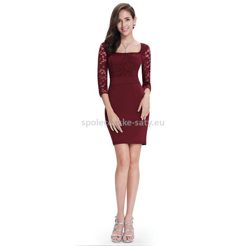 af1dea49fde6 Vínové krátké pouzdrové šaty s rukávem krajkové 42 XL