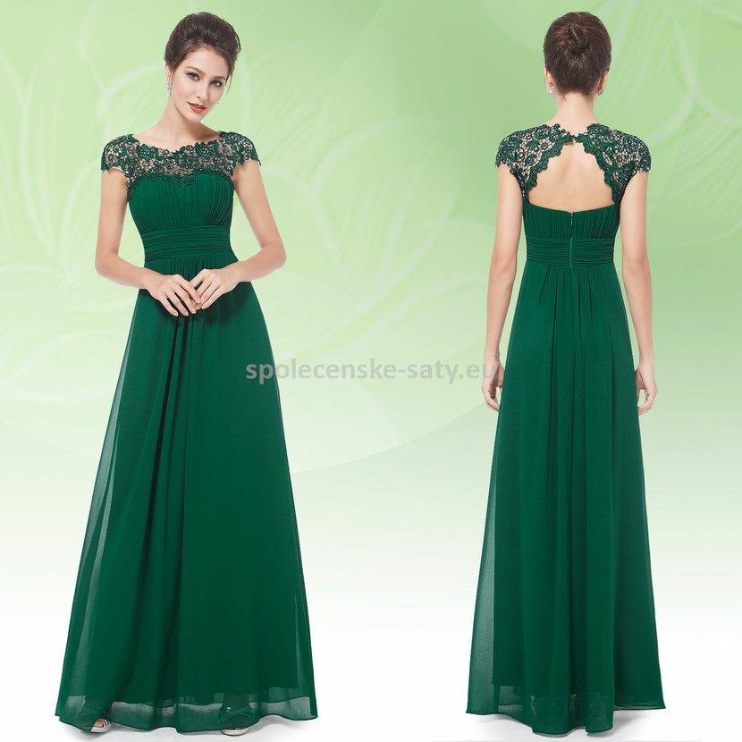 4245f50a8916 Zelené dlouhé šaty do společnosti na ples svatbu s rukávkem 42 ...