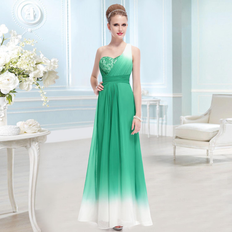 Zelené dlouhé společenské šaty s krémovou na jedno rameno 38 M  f4e1ab2c34