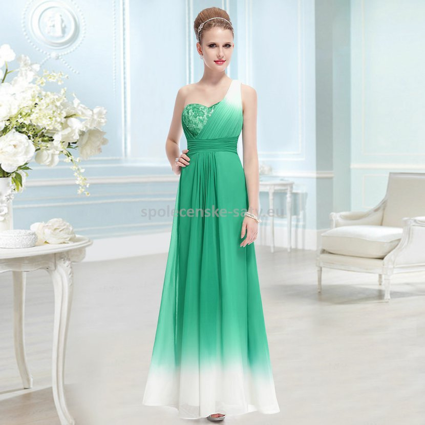 Zelené dlouhé společenské šaty s krémovou na jedno rameno 38 M ... f960ba3f702