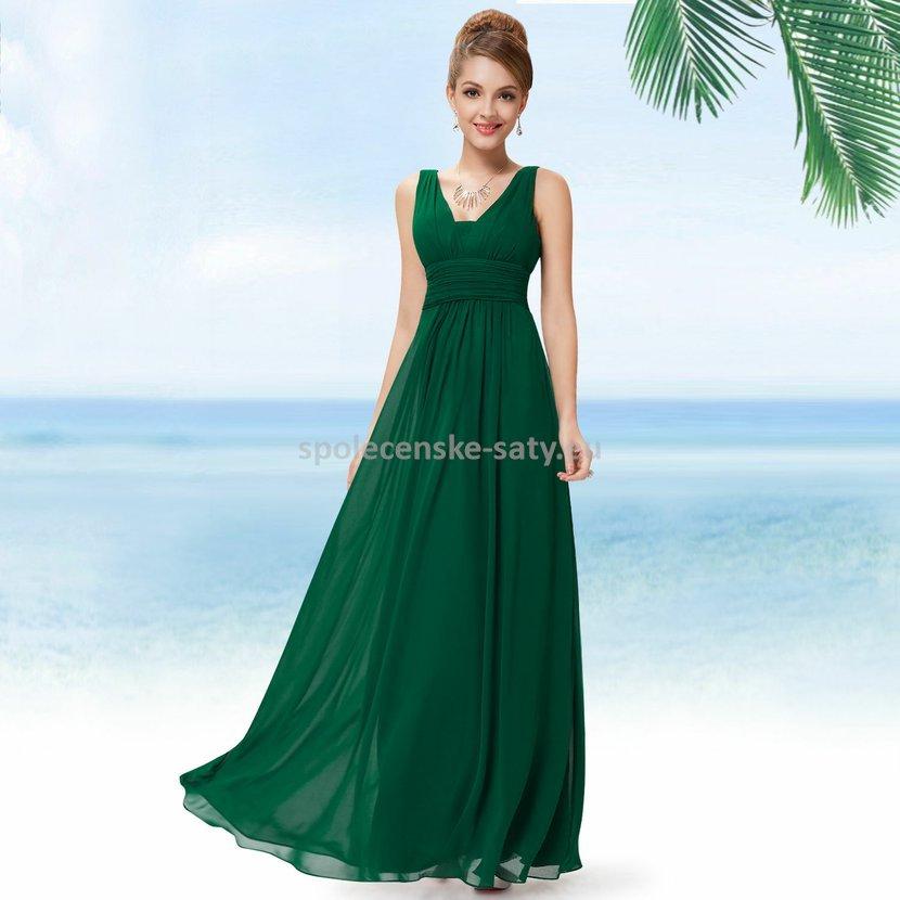 38c1d043ef66 Zelené dlouhé šifonové šaty hrubší ramínka na svatbu či ples i pro těhotné  40 L
