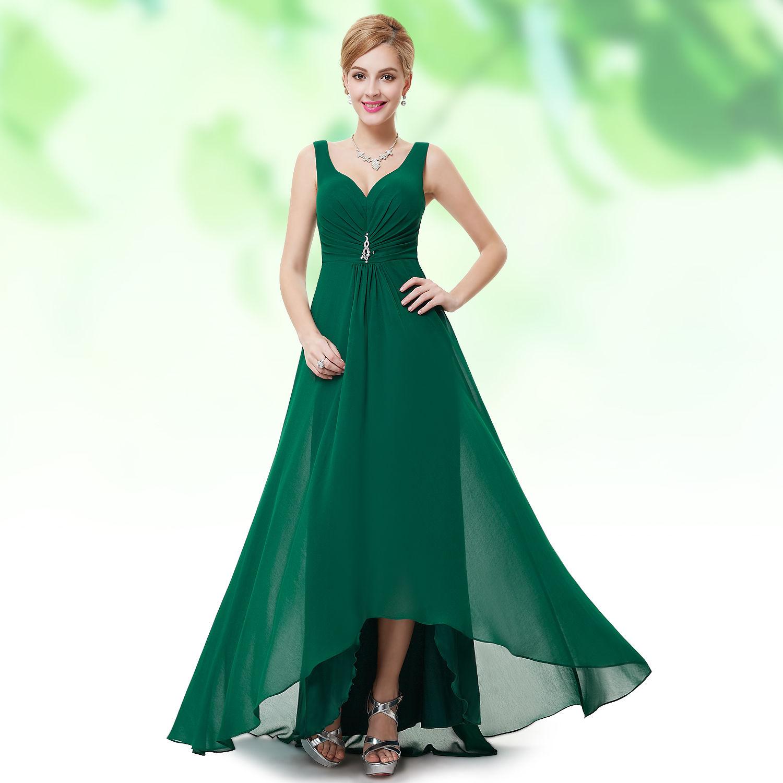 eeedf961a065 Zelené dlouhé společenské šaty šifon na hrubší ramínka vpředu kratší 34 XS