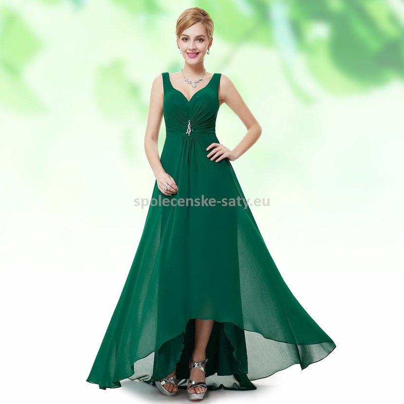 Zelené dlouhé společenské šaty šifon na hrubší ramínka vpředu kratší 44 XXL e219361e23