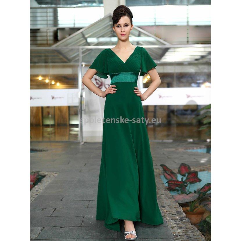 8795aaa1a0a Zelené dlouhé šaty společenské s rukávem na svatbu ples 40 L ...