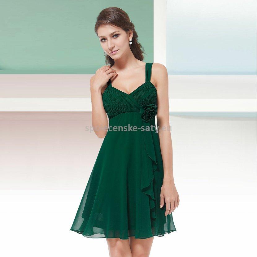 Zelené krátké společenské šaty koktejlky na svatbu promoce i pro těhotné 46  XXXL 521c291862