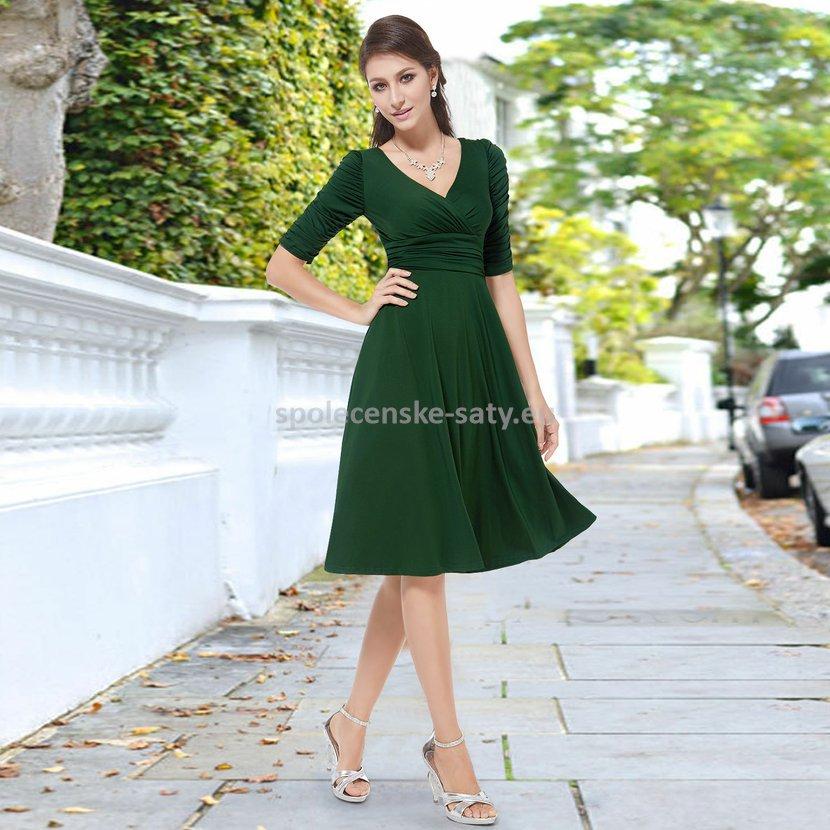 Zelené krátké společenské šaty koktejlky s rukávem na svatbu 36 S ... e0bc86d082