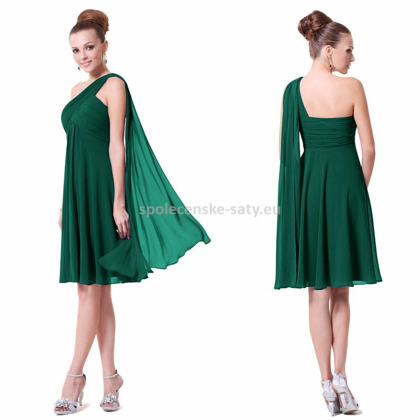 Zelené krátké společenské šaty na 1 rameno empírové i pro těhotné 46 ... 26aa00527e