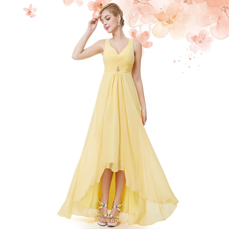 dd01589f4cd Žluté dlouhé společenské šaty na hrubší ramínka vpředu kratší 34 ...