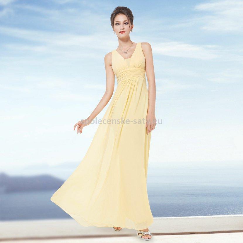 a03d700ba58 Žluté dlouhé šifonové šaty hrubší ramínka na svatbu či ples i pro těhotné  36 S