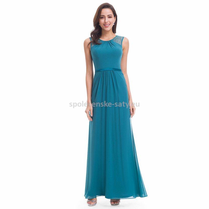 Petrolejové dlouhé společenské svatební šaty na hrubší ramínka 40-42 ... e584affee9