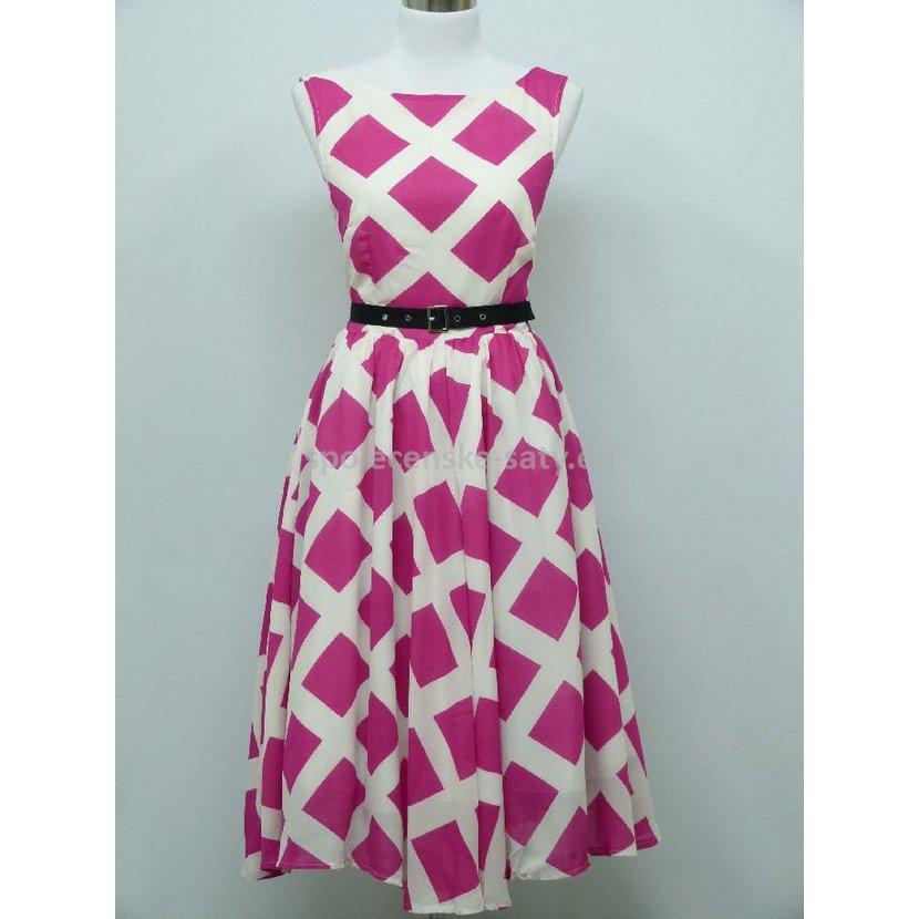 Růžové bílé krátké retro šaty na svatbu 38 M  0205aa27f1