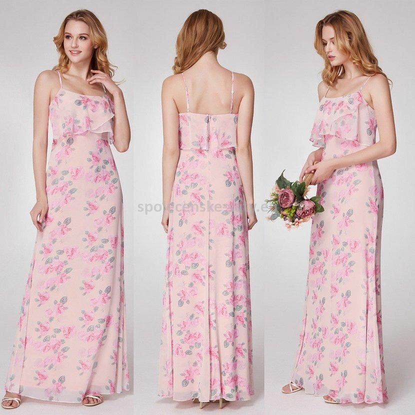 7b4b8fdd30f Růžové dlouhé letní šaty na ramínka 40-42
