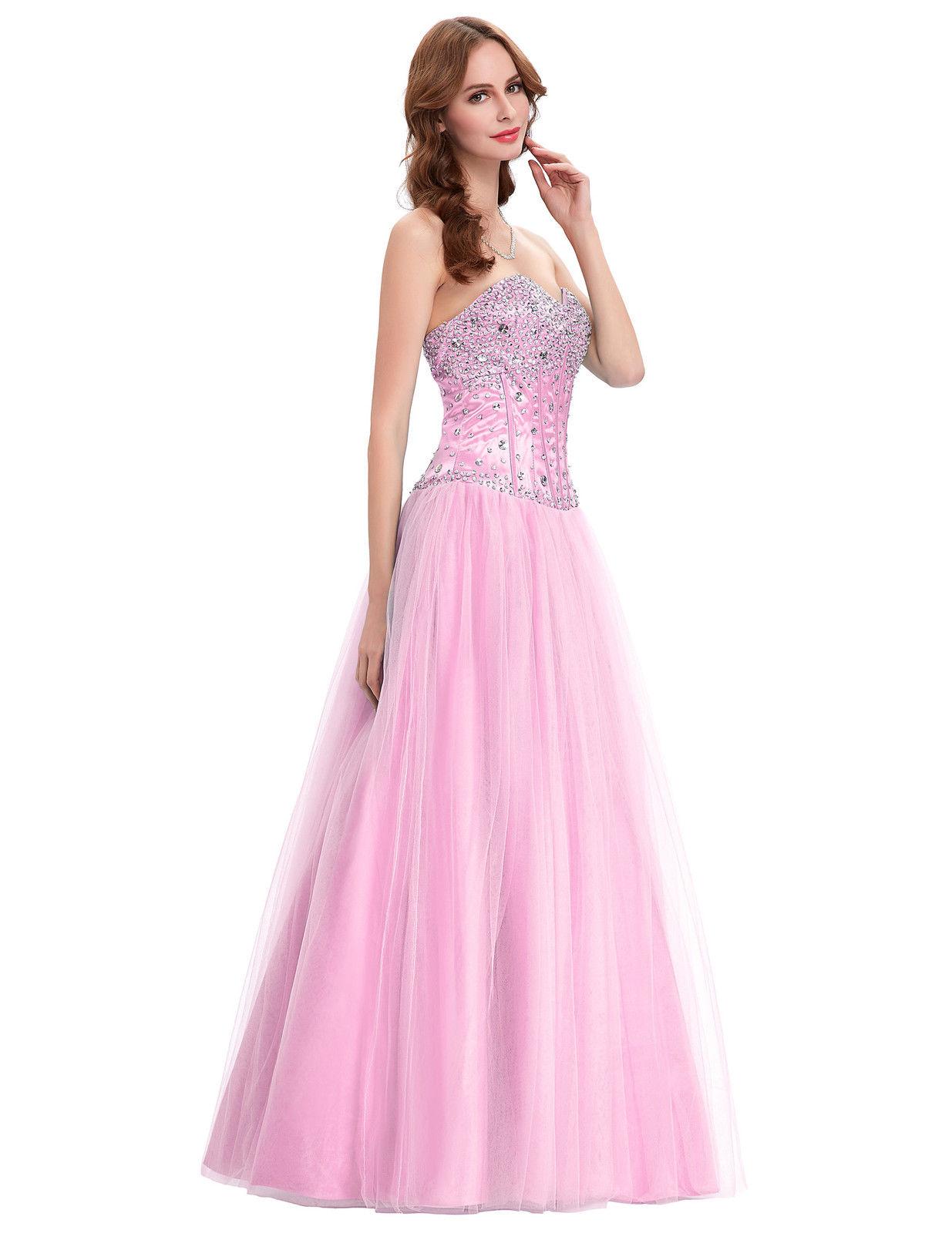 Růžové dlouhé plesové šaty s tylovou sukní a kamínky 34 XS ... 6eccecff47