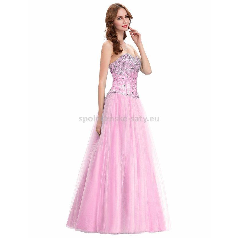 c3553a1fc3f Růžové dlouhé plesové šaty s tylovou sukní a kamínky 34 XS ...