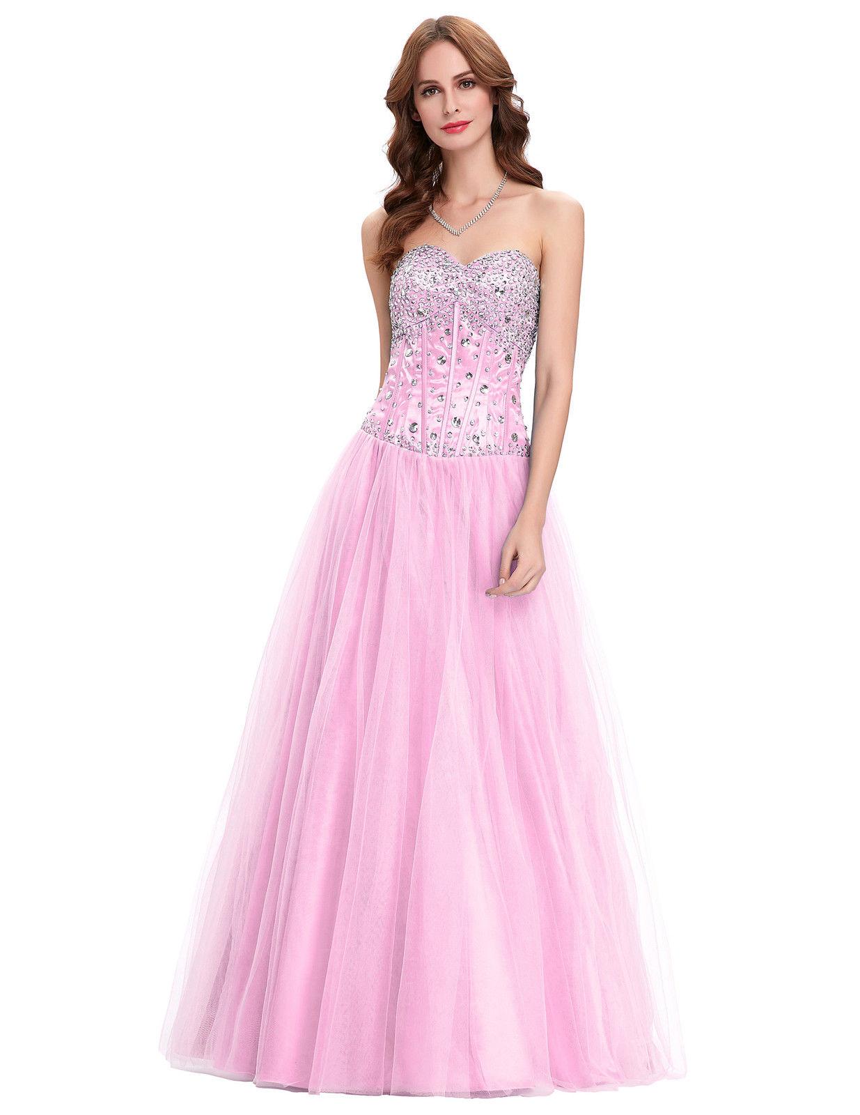 Růžové dlouhé plesové šaty s tylovou sukní a kamínky 34 XS ... 2f5a676a53