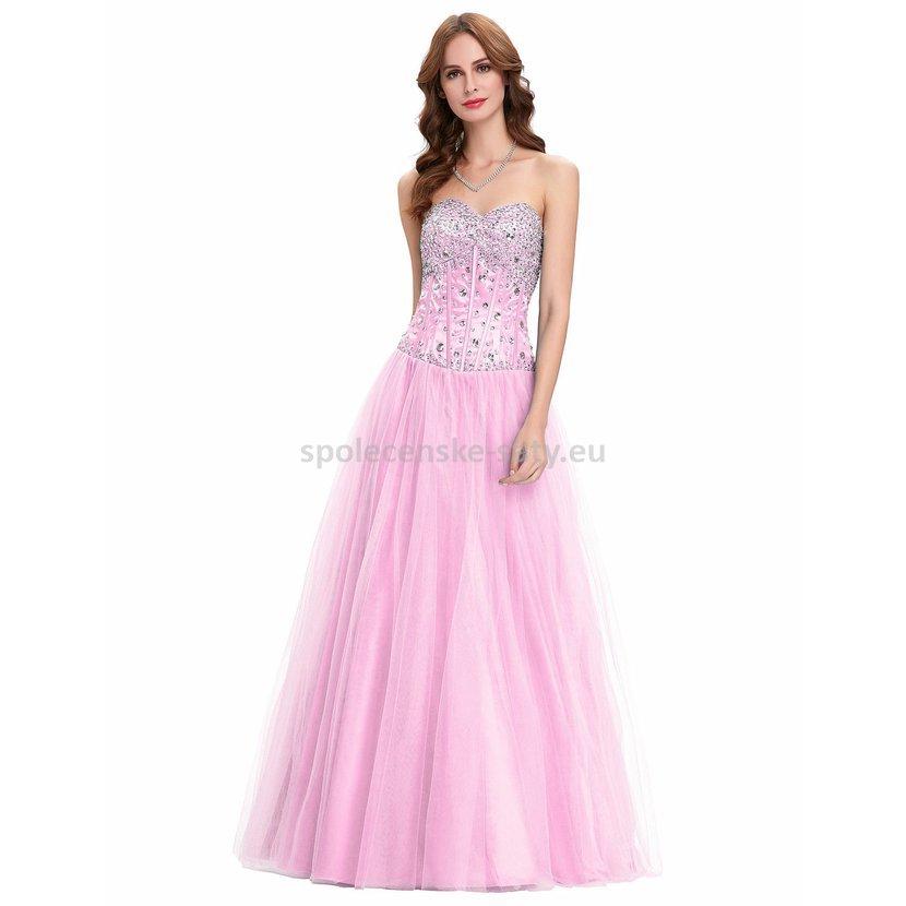 Růžové dlouhé plesové šaty s tylovou sukní a kamínky 34 XS ... 794535f9db
