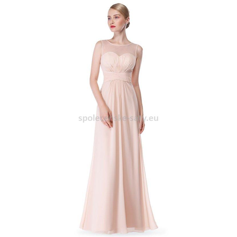 a4b69e58ff7 Béžové pudrové dlouhé společenské šaty 44