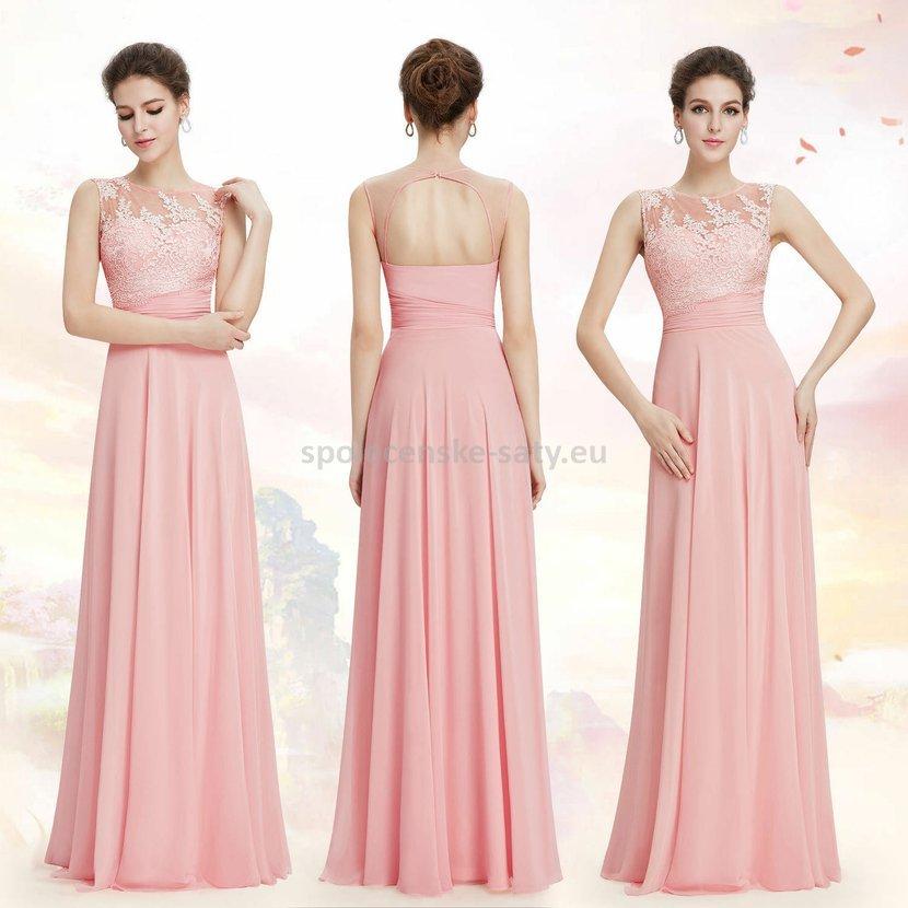 Růžové dlouhé společenské šaty na svatbu 44 XXL  48d2596fe3