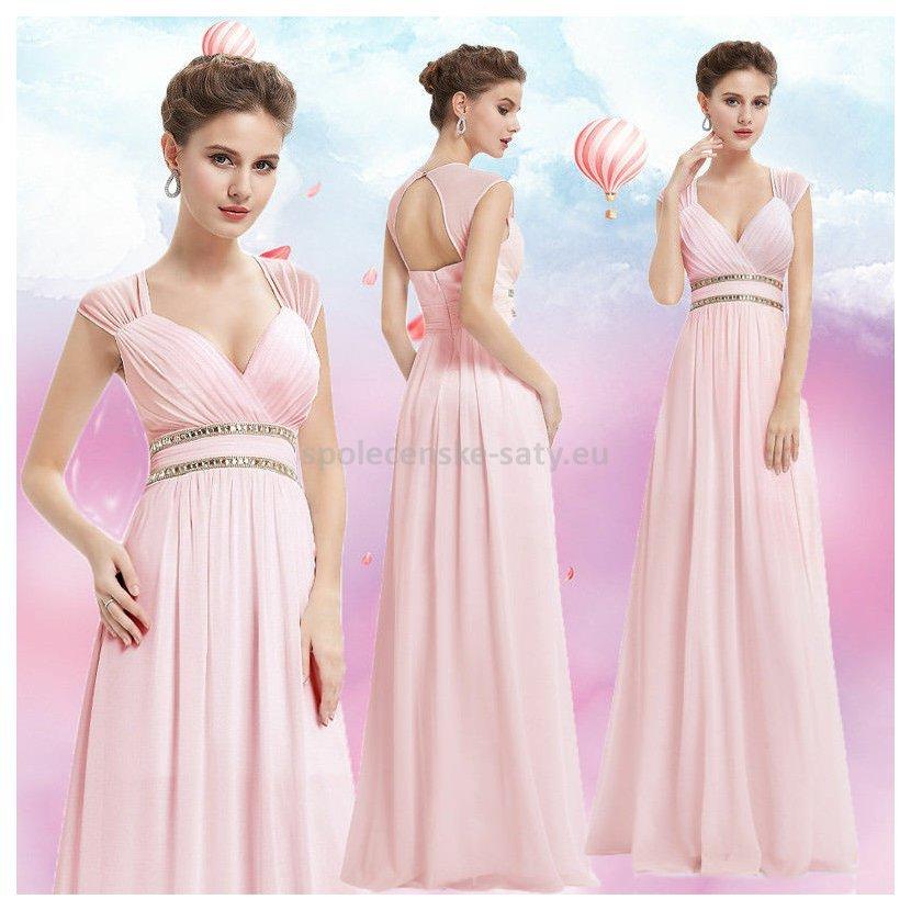 4fa170ce9f4 Růžové dlouhé společenské šaty ve stylu řecké bohyně 44 XXL ...