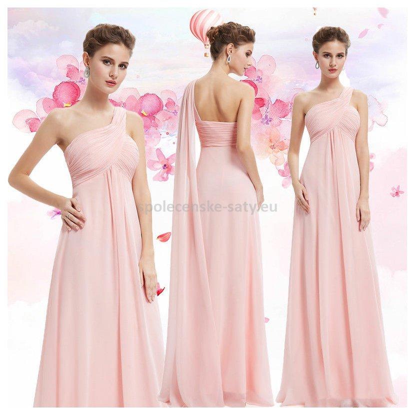 Růžové dlouhé společenské šaty na jedno rameno empírové i pro ... bd06cf75696