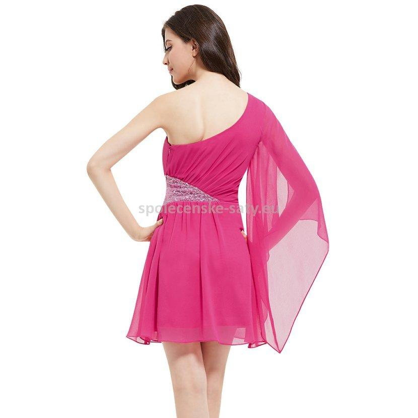 Růžové krátké šaty netopýří rukáv 40 L  f01fcd81f0c