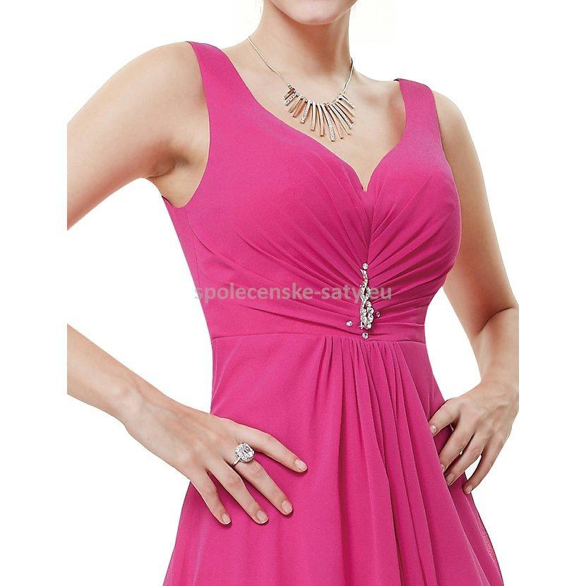 Růžové pink plesové šaty vzadu delší na svatbu do tanečních 34 XS ... 7d64ae91c6