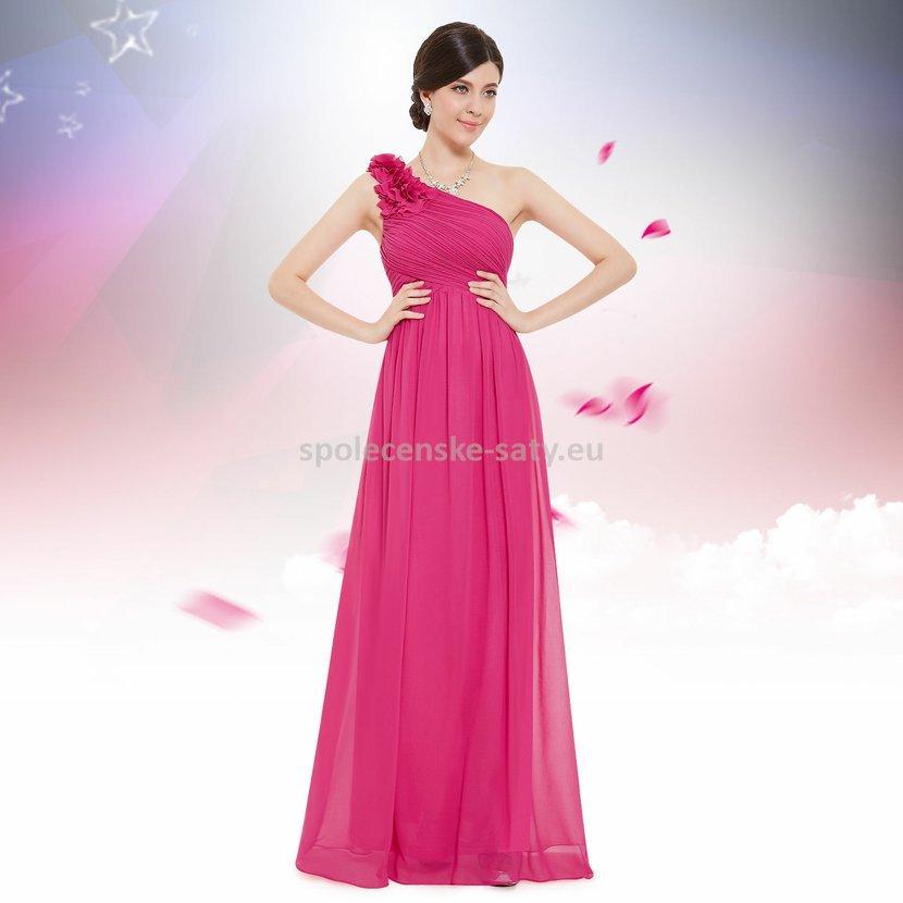 Růžové pink dlouhé společenské šaty na jedno rameno 38 M ... 9fa372dbd46