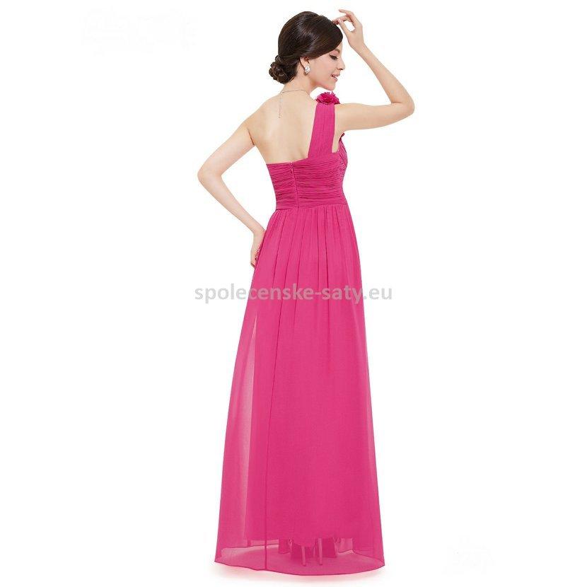 Růžové pink dlouhé společenské šaty na jedno rameno 40 L ... 52d38c06a90