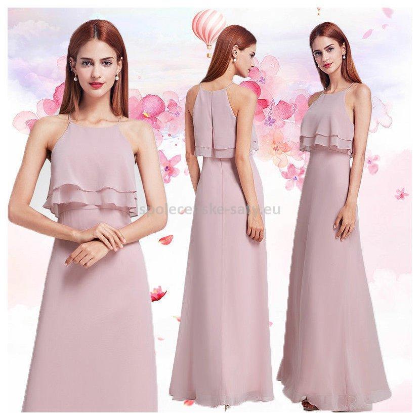 b669404237bb Růžové pastelové dlouhé společenské šaty na svatbu 42 XL