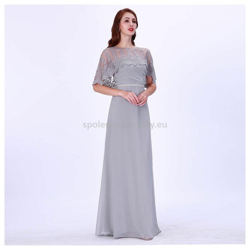 Šedé dlouhé společenské šaty s přehozem 46  d3a3847c04