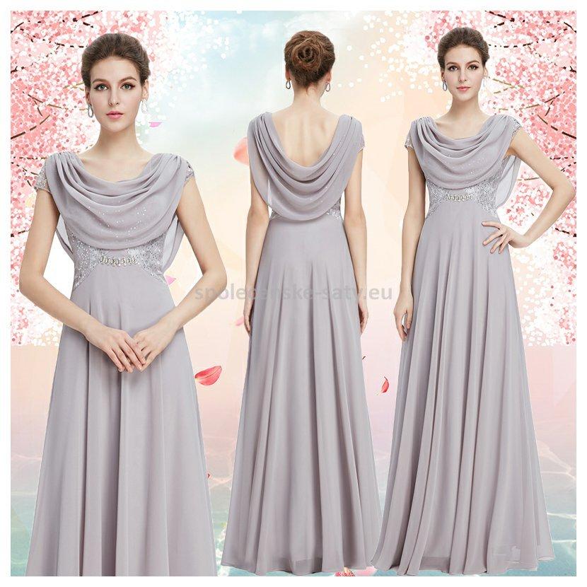 ad59404be19 Šedé dlouhé společenské šaty s rukávkem na ples s vodou 36 S ...